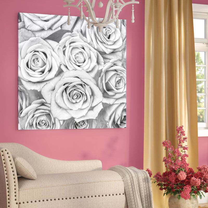 Willa Arlo Interiors \'Roses - White on Silver\' Graphic Art Print on ...