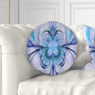 Floral Fractal Flower Pattern Throw Pillow