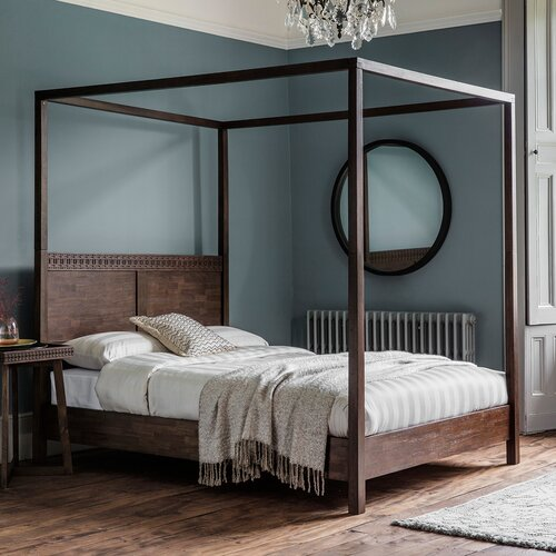 Martel Four Poster Bed Bay Isle Home Colour: Brown, Size: Super King (6)