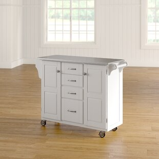 AdelleaCart Kitchen Island with Stainless Steel Top by August Grove