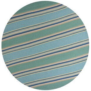 Affric Stripes Hooked Ocean Indoor/Outdoor Area Rug By Bayou Breeze