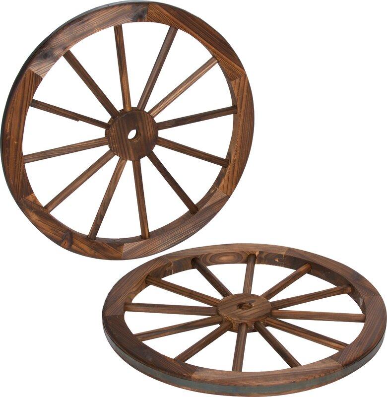 Wagon Wheel Wall Decor trademark innovations decorative vintage wood garden wagon wheel