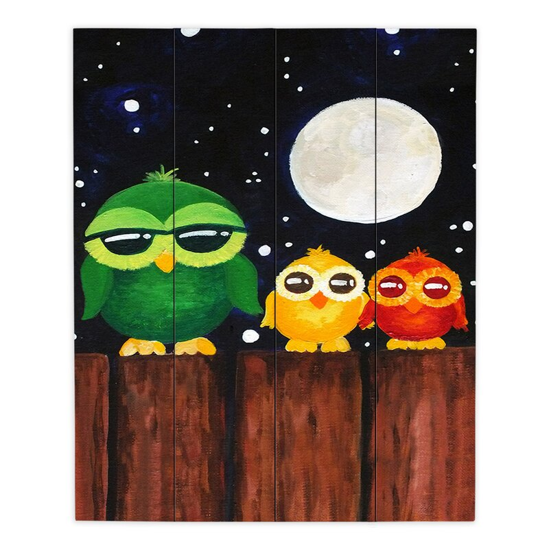 Dianochedesigns Owls On A Fence Painting Print On Wood Wayfair