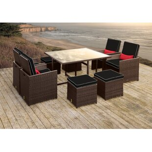 Stella II Patio Rattan 9 Piece Dining Set with Cushions and Rectangular Toss Pillows