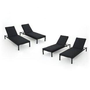 Latitude Run Molnar Reclining Chaise Lounge with Cushion (Set of 4)