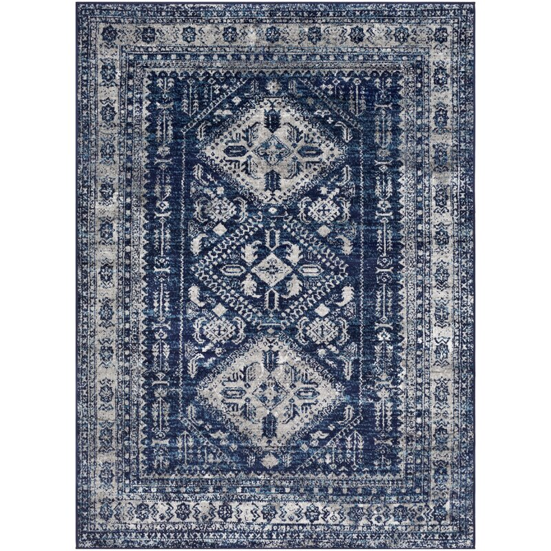 Ranck Distressed Vintage Navy/Cyan Area Rug