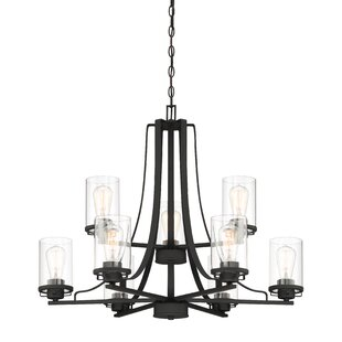 Williston Forge Coil 9-Light Shaded Chandelier