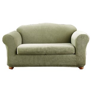 Stretch Stripe Madison Box Cushion Loveseat Slipcover