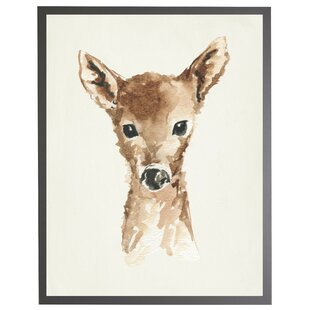 'Baby Deer' Framed Watercolor Painting Print