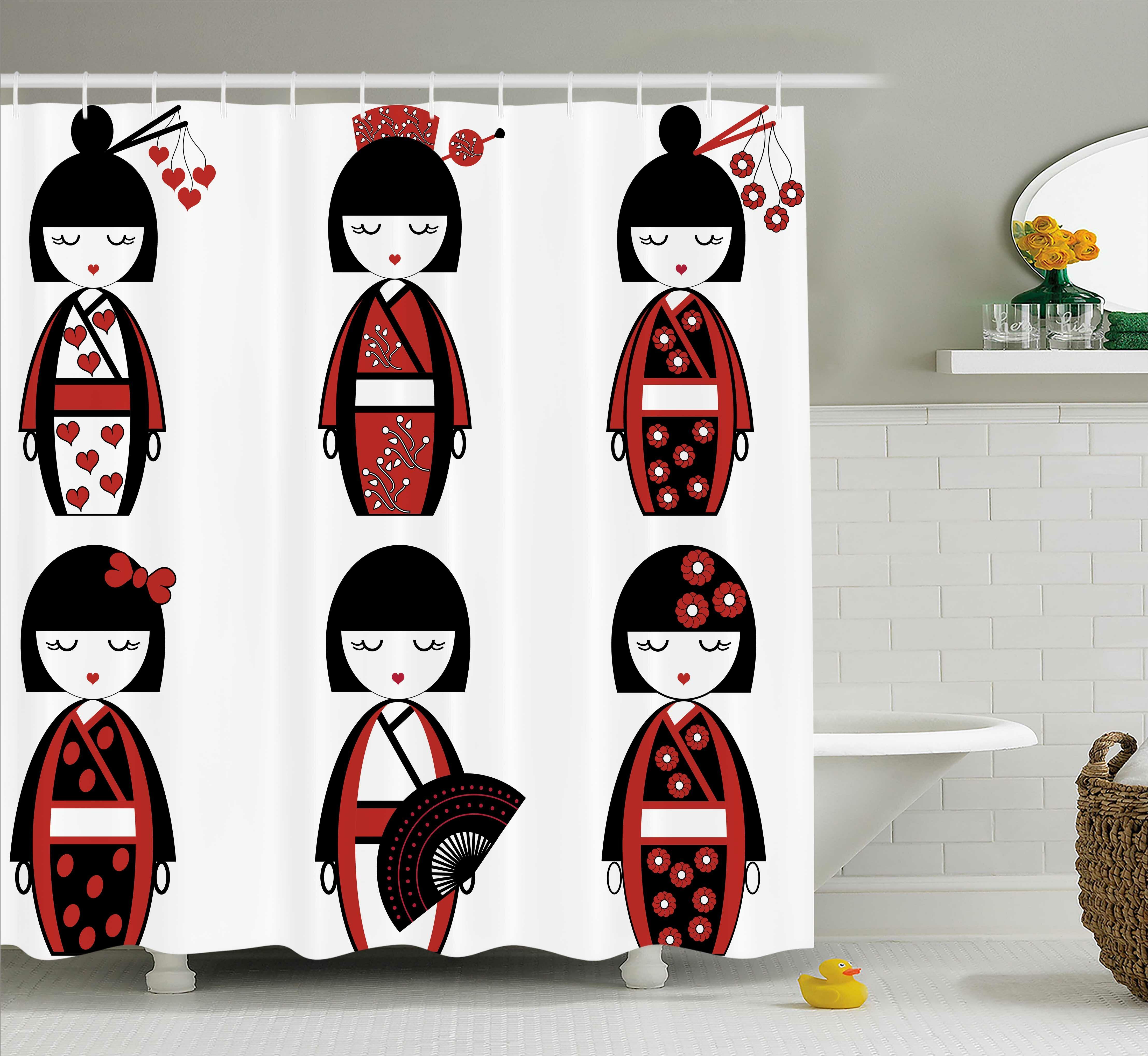 Ebern Designs Kimberley Asian Geisha Dolls Shower Curtain