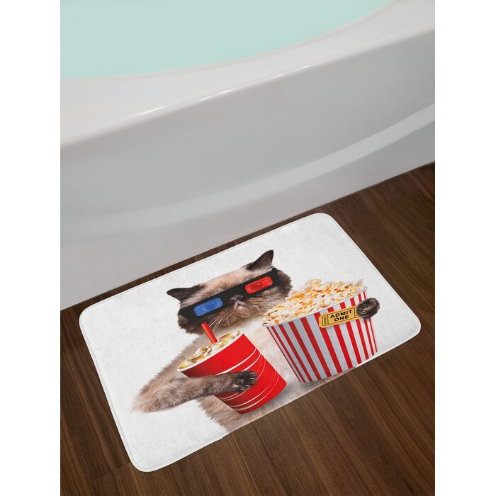 Movie Theater Cat with Popcorn and Drink Watching Movie Glasses  Entertainment Cinema Fun Non-Slip Plush Bath Rug