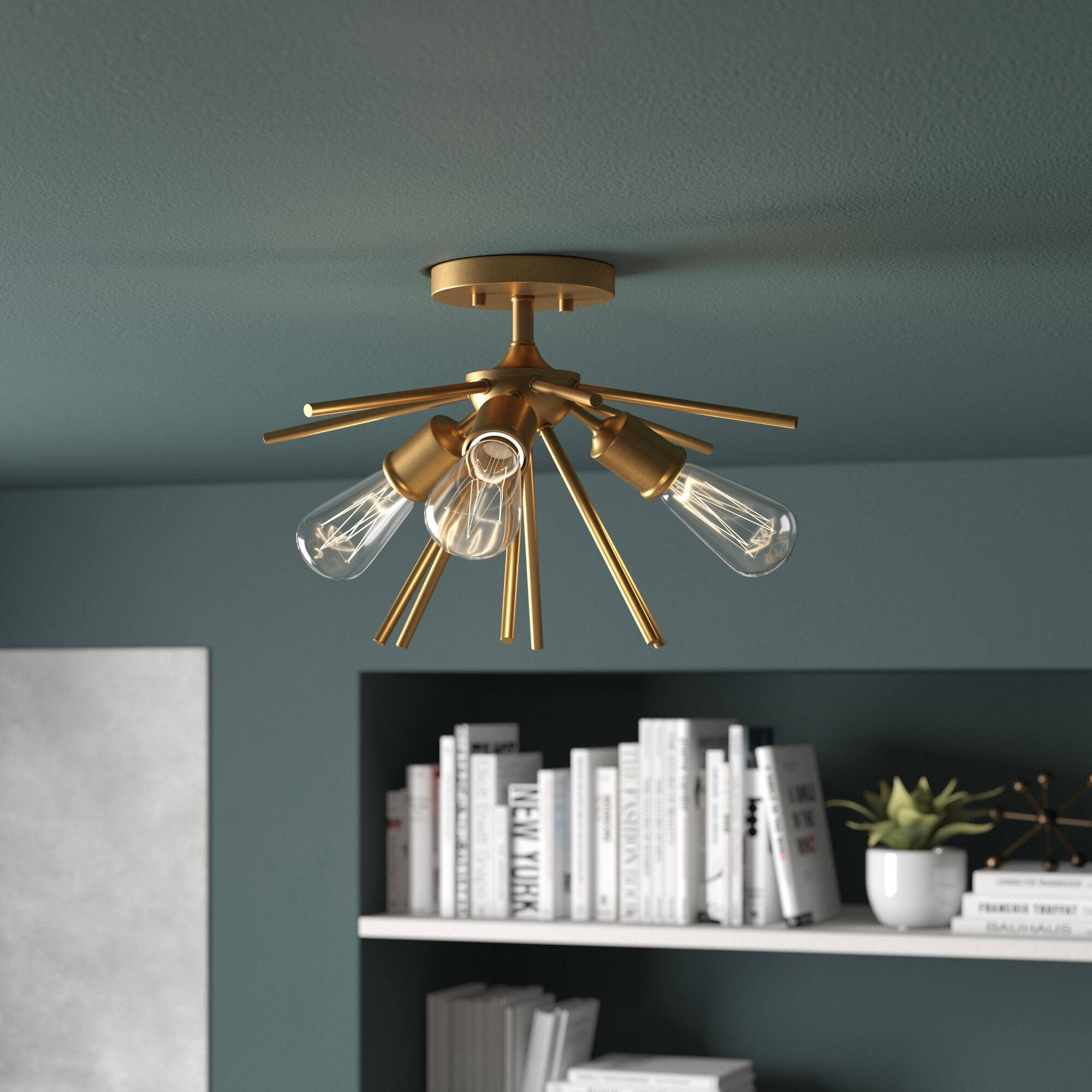 Berryhill 3 light semi flush mount