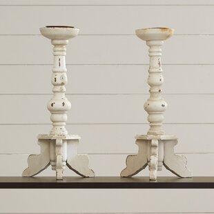 Kittie Contemporary Wood Candlestick Holder Set (Set of 2)