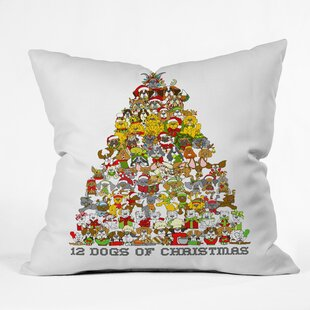 12 Dogs of Christmas Indoor/Outdoor Throw Pillow