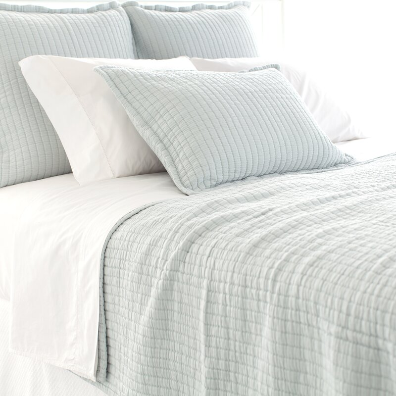 Boyfriend Matelasse Coverlet- come explore coastal cottage bedroom ideas with furniture and decor resources on Hello Lovely!