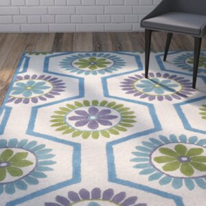Martins Ivory / Blue Area Rug