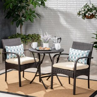 Stennis Outdoor 3 Piece Bistro Set with Cushions by Winston Porter