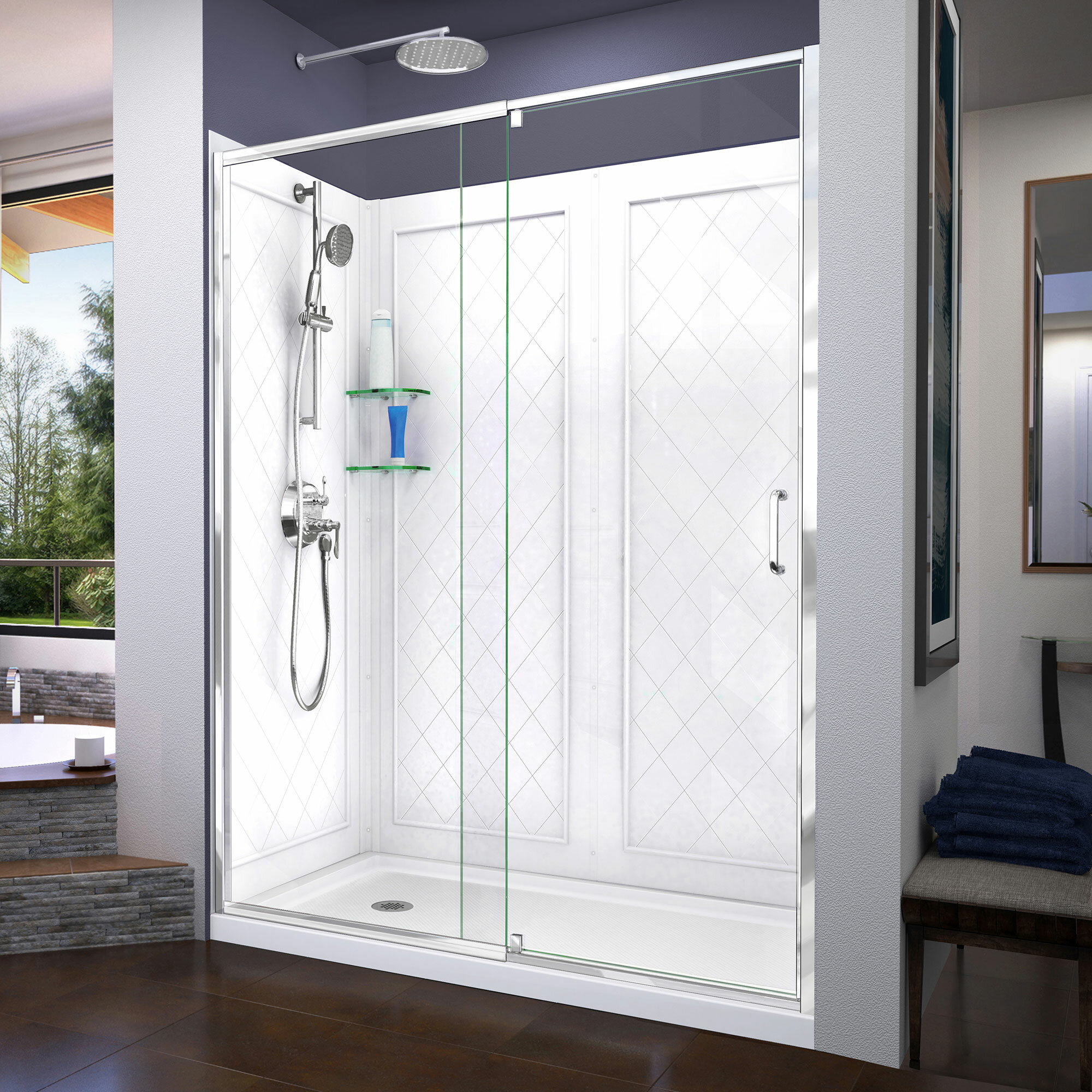 Dreamline Flex 60 X 76 75 Pivot Semi Frameless Shower Door Wayfair