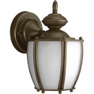 Low priced Triplehorn Outdoor 1-Light Metal Wall Lantern By Alcott Hill