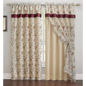 Arcola Nature/Floral Room Darkening Rod Pocket Single Curtain Panel