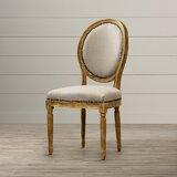 Hadrien Upholstered King Louis Back Side Chair in Beige by Lark Manor