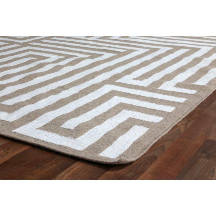 Flat Woven Wool Beige Area Rug