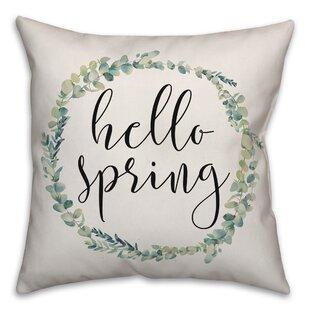 Sprinkle Hello Spring Wreath Throw Pillow