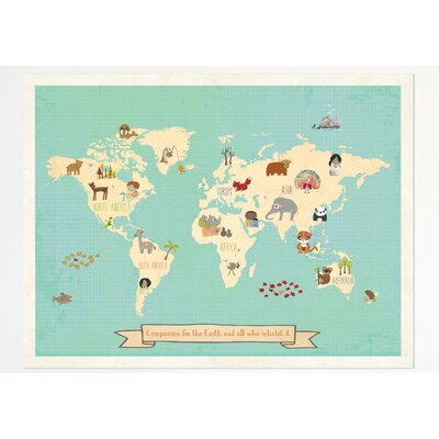 East Urban Home Animal Map Of The World II Graphic Art Print - Green and blue world map