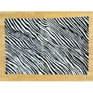 Where buy  One-of-a-Kind Blomquist Zebra Design Hand-Knotted Wool/Silk Area Rug By Isabelline