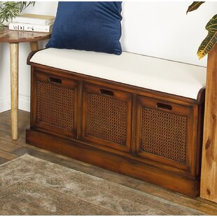 Harrisburg Rustic 3-Drawer Upholstered Storage Bench by Bayou Breeze