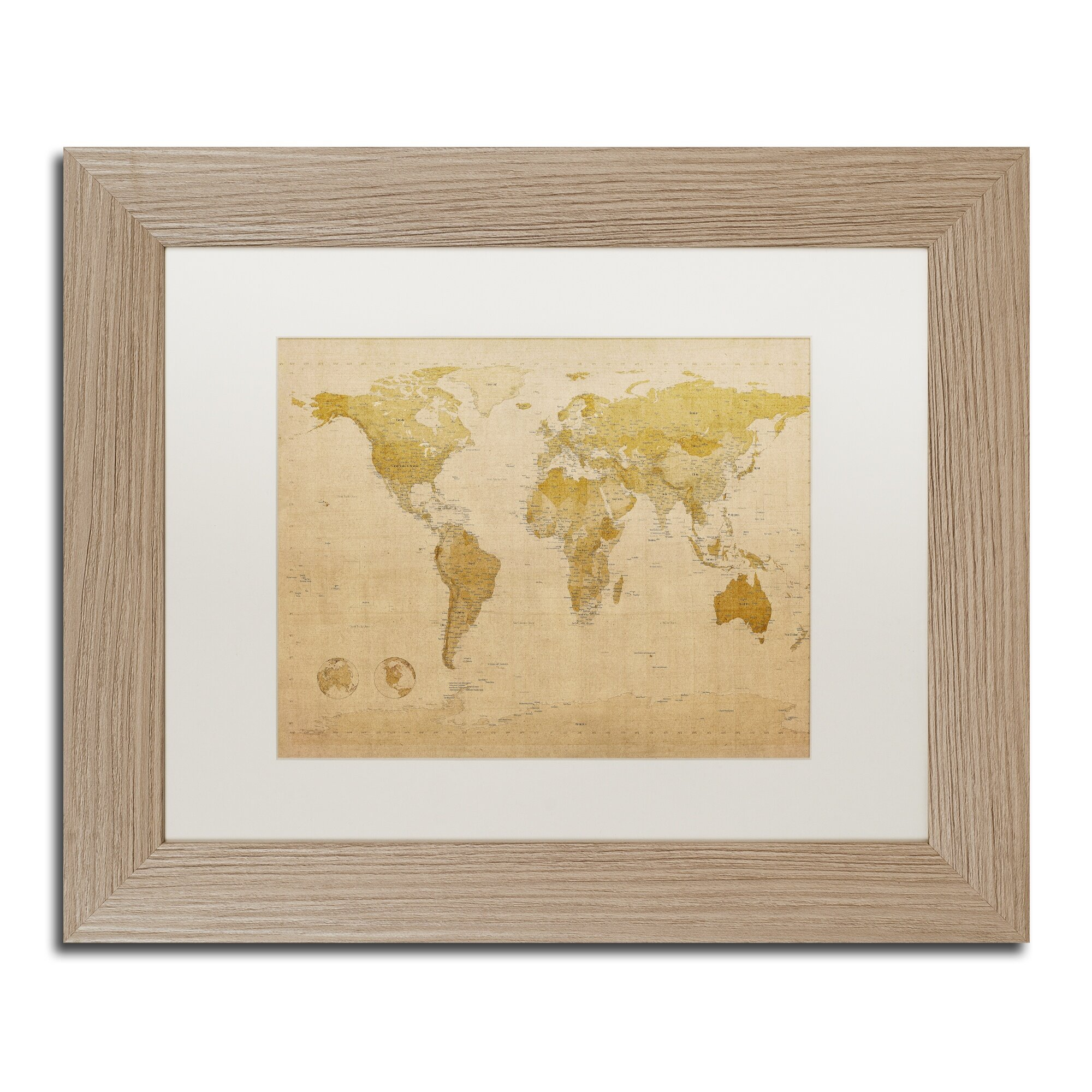 Trademark Art Antique World Map by Michael Tompsett Framed Graphic ...