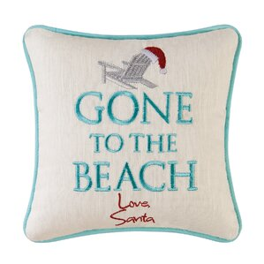 embroidered gone to the beach throw pillow