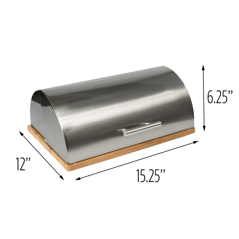 Honey Can Do Stainless Steel Bread Box With Bamboo Cutting Board