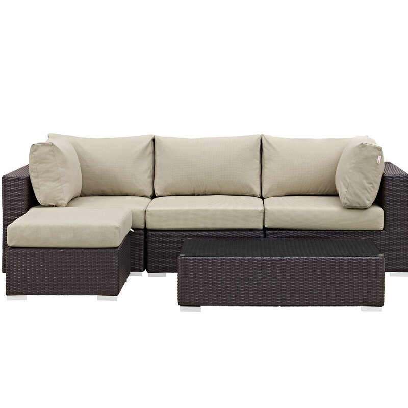 Sol 72 Outdoor  Brentwood 5 Piece Rattan Sectional Set with Cushions Fabric: Beige