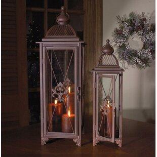 Fleur De Lis Living Fleur-De-Lis Pillar 2 Piece Metal/Glass Lantern Set