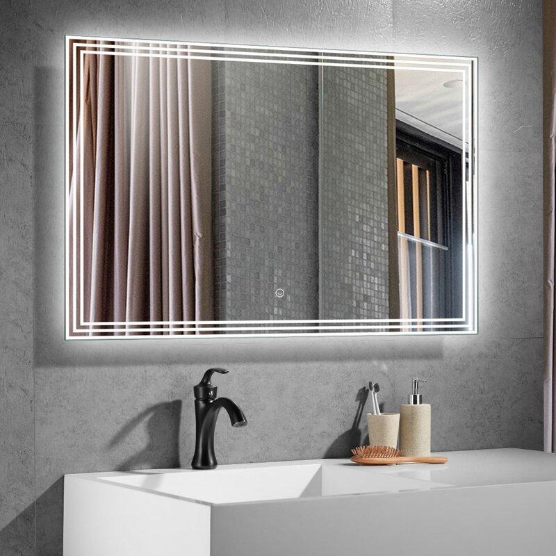 Orren Ellis Porter Beveled Lighted Bathroom Mirror Wayfair