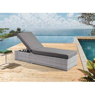 Ivy Bronx Bottrell Wicker Patio Chaise Lounger with Cushion