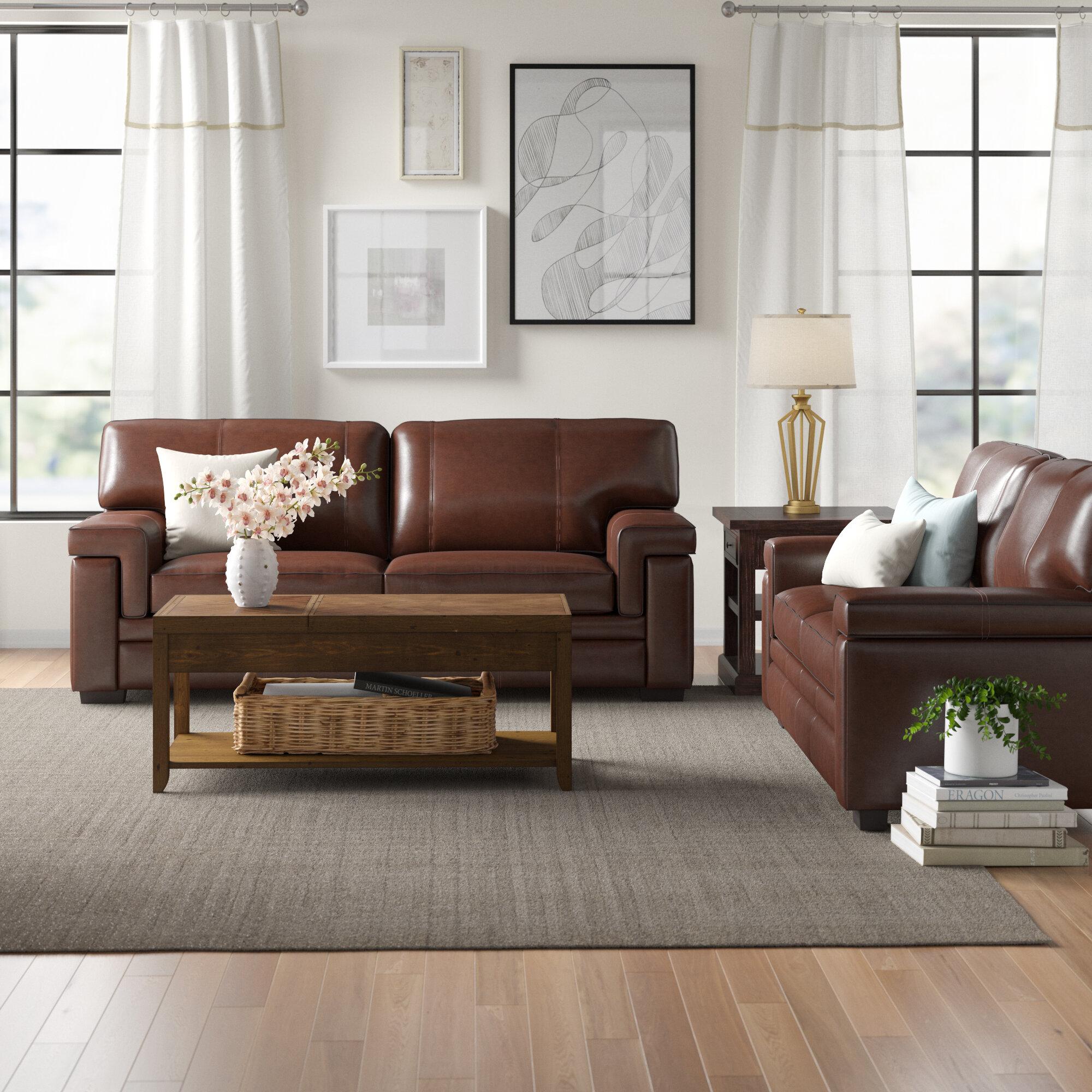 Three Posts Cabott Genuine Leather Living Room Set Reviews Wayfair