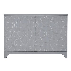 Throop Modern Influenced 2 Door Bar Cabinet With Ornate Overlay Carving
