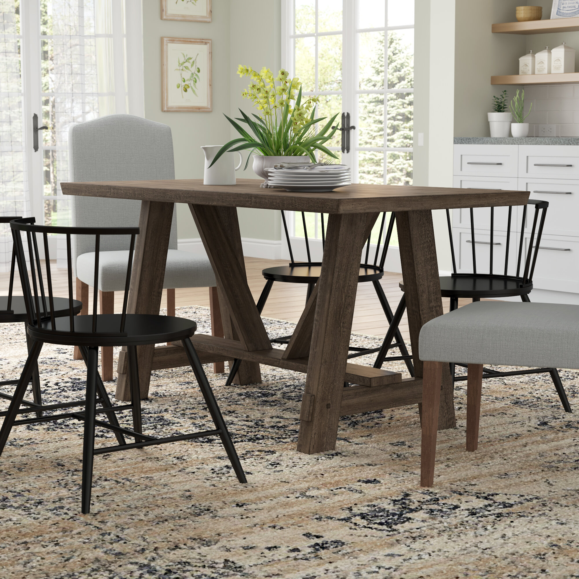 Gracie Oaks Leming Farmhouse Style Trestle Dining Table & Reviews