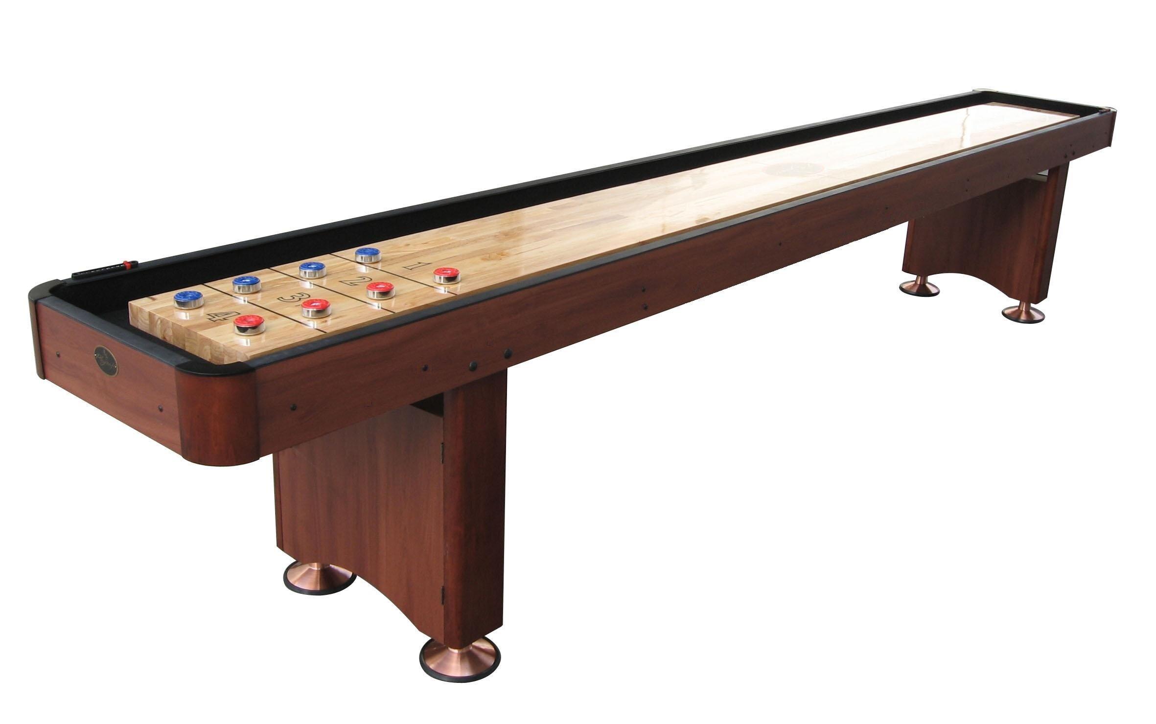Dark Cherry Shuffleboard Table 12 Ft Set Hardwood Block Surface Home Game