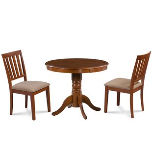 Dahlquist 3 Piece Solid Wood Dining Set August Grove