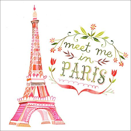 Meet Me In Paris by Katie Daisy Framed Graphic Art on Wrapped Canvas. Happy LOVE Day, Lovelies! Poetry, handlettered art, and colorful Valentine's Day finds await on Hello Lovely Studio!