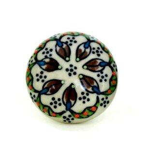 Floral Pattern Flat Ceramic Mushroom Knob
