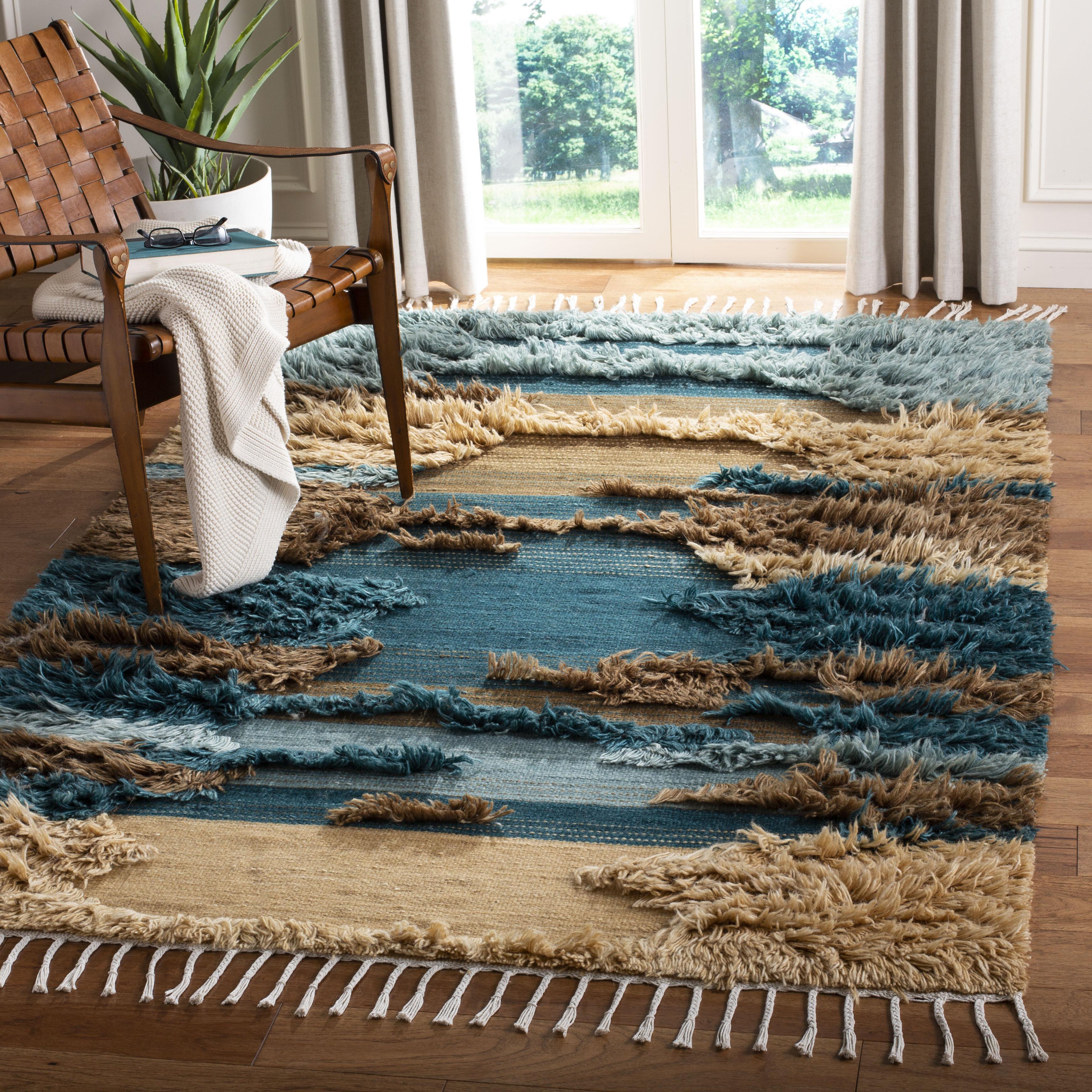 Union Rustic Parinaaz Hand Knotted Wool Cotton Blue Beige Brown Area Rug Wayfair