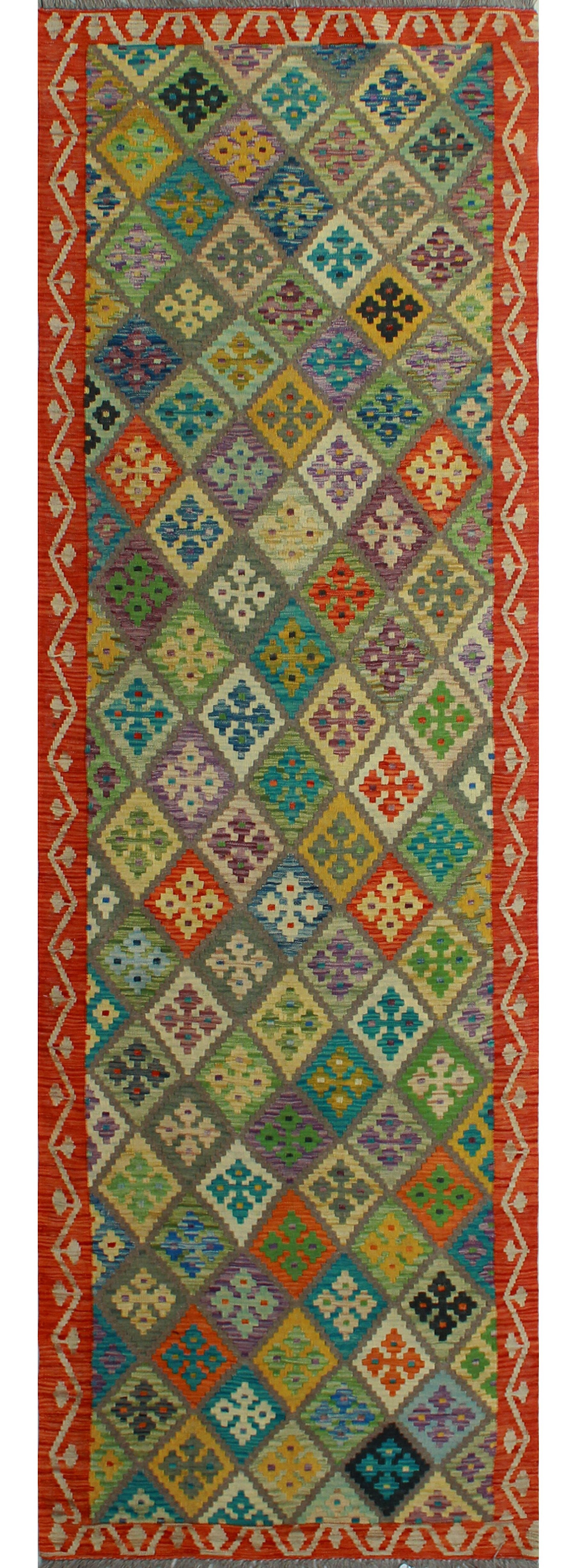 Foundry Select Runner Hults Southwestern Hand Woven Wool Green Red Area Rug Wayfair