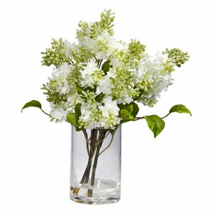 Quincy Lilac Silk Flower Arrangement in Vase