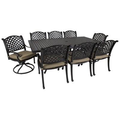 Gadson Castle Rock 9 Piece Dining Set With Cushions by Red Barrel Studio Best #1