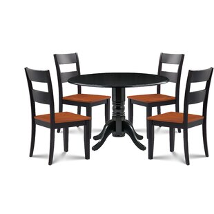 Horatio 5 Piece Drop Leaf Solid Wood Dining Set by August Grove Great Reviews