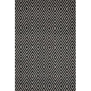 Affordable Price Diamond Hand Woven Black Indoor/Outdoor Area Rug By Dash and Albert Rugs